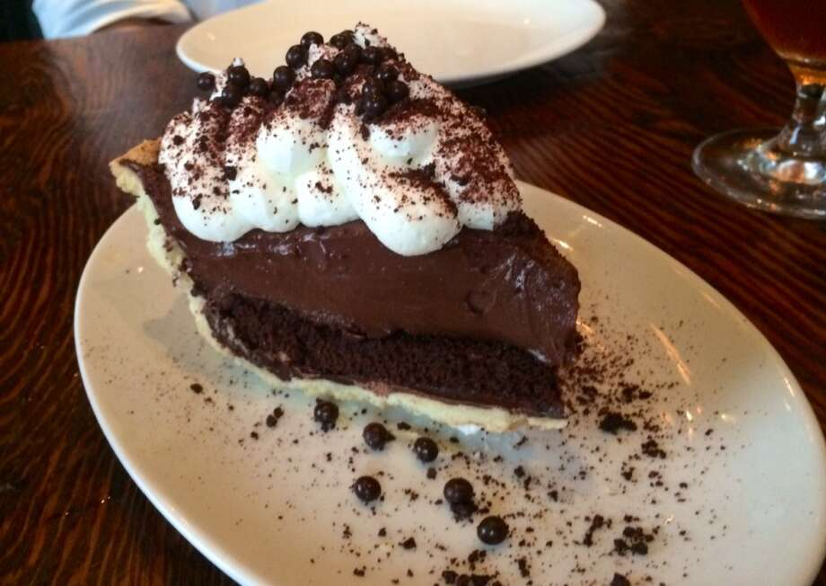 Chocolate cream pie with a layer of devil's food cake ($10)