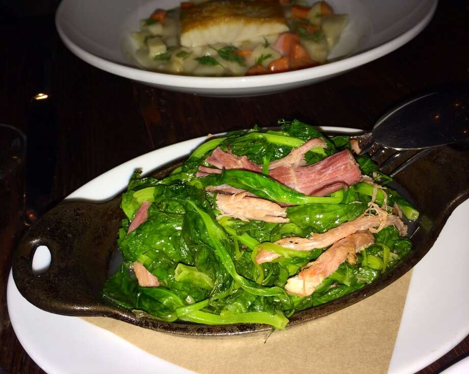 Collard-braised pea tendrils with vinegar and ham ($8)