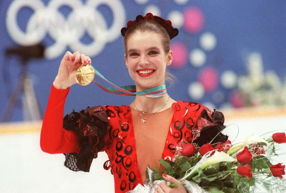 WORST: She won a gold medal in Calgary in 1988, but East  German figure skater Katarina Witt, who is a classic beauty,  veered a bit too far toward the folkloric, looking back on this outfit through the lens of 2014. Photo: DANIEL JANIN, AFP/Getty Images