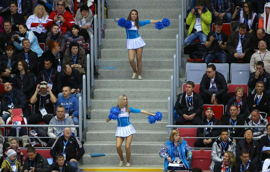 Cheerleaders perform during the Ice Hockey Women's Bronze Medal Game between Switzerland and Sweden on day 13 of the Sochi 2014 Winter Olympics at Bolshoy Ice Dome on February 20, 2014 in Sochi, Russia.  Photo: Doug Pensinger, Getty Images