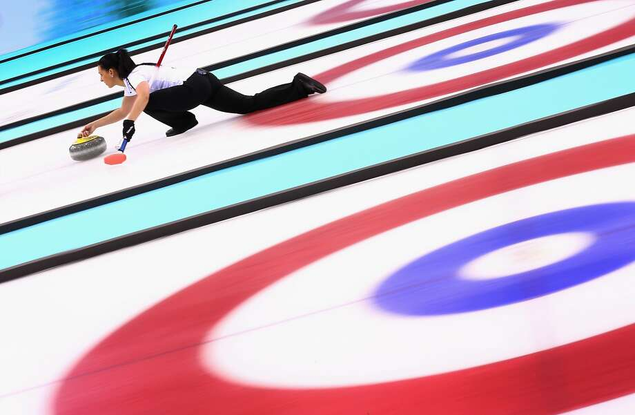 Carmen Schaefer of Switzerland in action during the Bronze medal match between Switzerland and Great Britain on day 13 of the Sochi 2014 Winter Olympics at Ice Cube Curling Center on February 20, 2014 in Sochi, Russia. Photo: Clive Mason, Getty Images