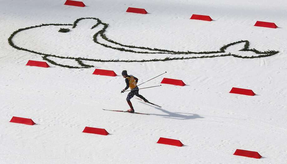 United States' Taylor Fletcher competes during the cross-country portion of the Nordic combined Gundersen large hill team competition at the 2014 Winter Olympics, Thursday, Feb. 20, 2014, in Krasnaya Polyana, Russia.  Photo: Dmitry Lovetsky, Associated Press
