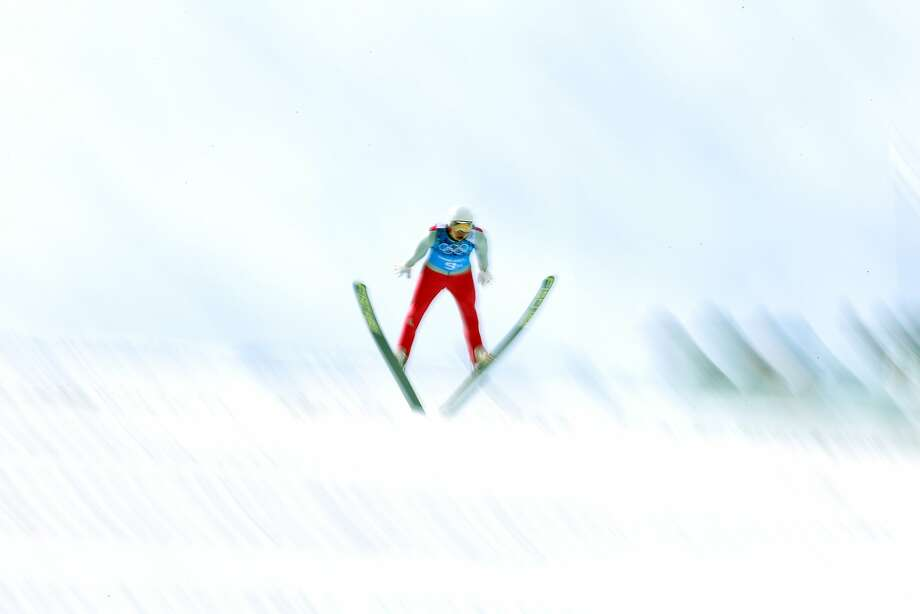 Eric Frenzel of Germany competes in the Nordic Combined Team Large Hill on day 13 of the Sochi 2014 Winter Olympics at RusSki Gorki Jumping Center on February 20, 2014 in Sochi, Russia. Photo: Robert Cianflone, Getty Images
