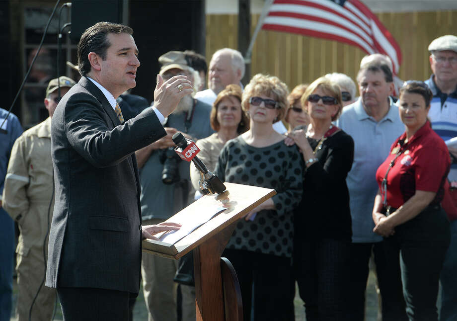 Ted Cruz speaks to a crowd of about 70 people at Gladys City on Wednesday.  Photo taken Wednesday, February 20, 2014 Guiseppe Barranco/@spotnewsshooter Photo: Guiseppe Barranco, Photo Editor