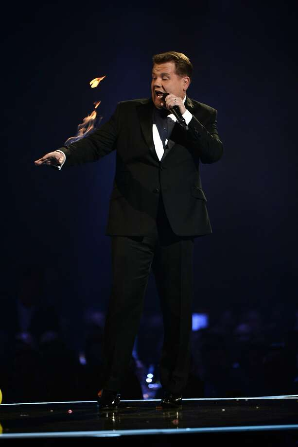 LONDON, ENGLAND - FEBRUARY 19: Host James Corden caught fire after the Arctic Monkeys performance at The BRIT Awards 2014 at 02 Arena on February 19, 2014 in London, England.  (Photo by Ian Gavan/Getty Images) Photo: Ian Gavan, Getty Images