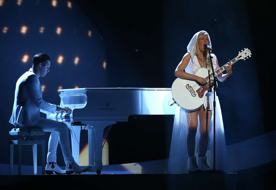 British singer-songwriter Ellie Goulding performs on stage at the BRIT Awards 2014 at the O2 Arena in London on Wednesday, Feb. 19, 2014. (Photo by Joel Ryan/Invision/AP) Photo: Joel Ryan, Associated Press