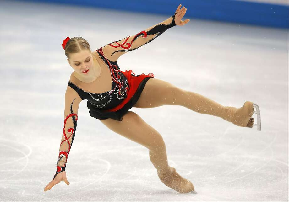 Nicole Rajicova of Slovakia falls as she competes in the women's free skate figure skating finals at the Iceberg Skating Palace during the 2014 Winter Olympics, Thursday, Feb. 20, 2014, in Sochi, Russia. Photo: Vadim Ghirda, Associated Press