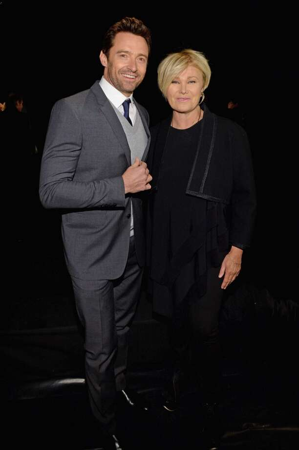Hugh Jackman and wife Deborra-Lee Furness attend the Donna Karan New York 30th Anniversary fashion show during Mercedes-Benz Fashion Week at 23 Wall Street. Photo: Larry Busacca
