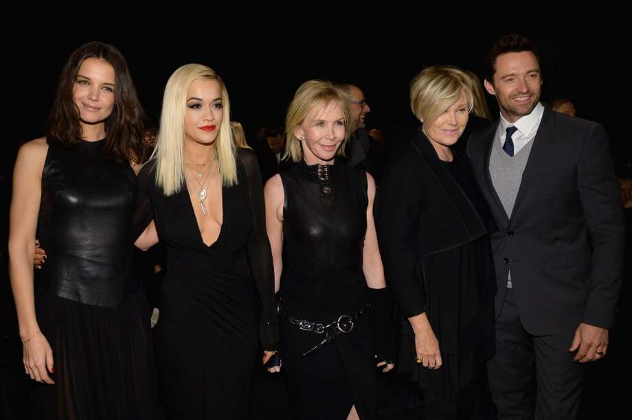 Katie Holmes, Rita Ora, Trudie Styler, Deborra-Lee Furness and Hugh Jackman attend the Donna Karan New York 30th Anniversary fashion show during Mercedes-Benz Fashion Week at 23 Wall Street. Photo: Larry Busacca, Getty Images
