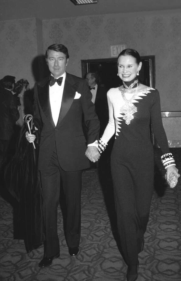 "Gloria Vanderbilt and her fourth husband, actor and editor Wyatt Cooper (1927 - 1978), arrive at the premiere of the film ""Cabaret"" at the Ziegfeld Theatre, New York, New York, early February 1972. Photo: Tim Boxer, Getty Images"