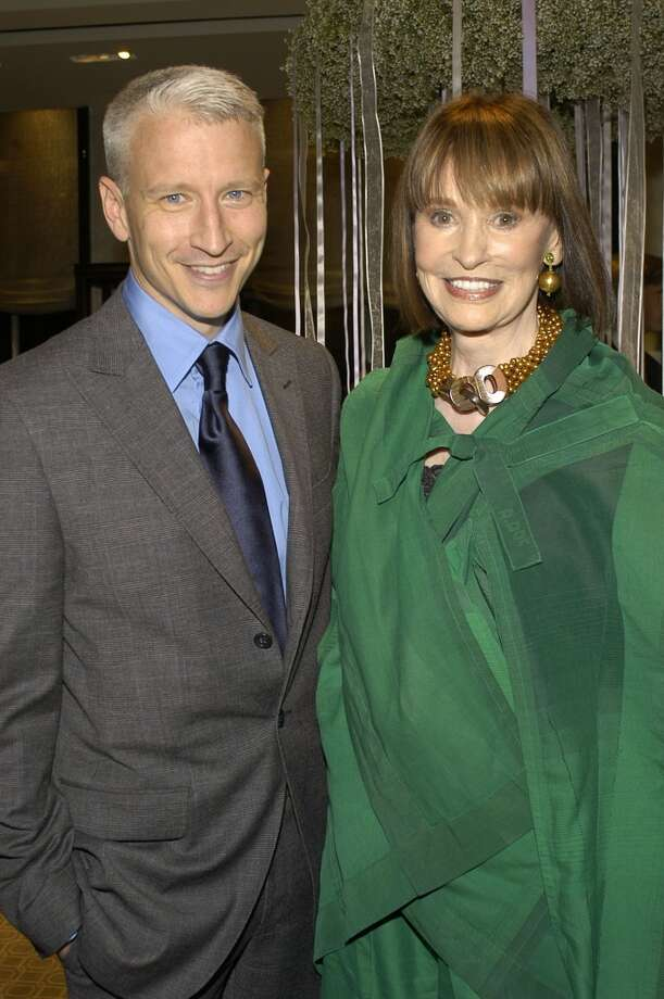 Gloria Vanderbilt with her son Anderson Cooper at the Tiffany Store in New York, New York in 2004. Photo: Rabbani And Solimene Photography, WireImage