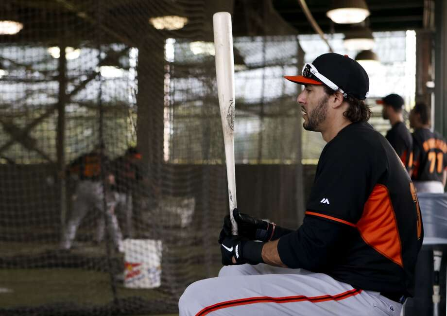 Michael Morse, (38) waits his turn in the batting cages in Scottsdale, Arizona on Wednesday Feb. 19, 2014. The San Francisco Giants continue their spring training schedule in the Arizona desert with the full squad taking in practice at Scottsdale Stadium. Photo: The Chronicle