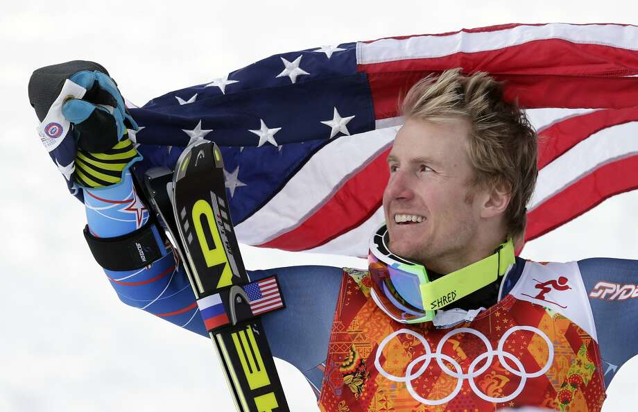 Skier Ted Ligety poses after winning the gold medal in the giant slalom. Photo: Charles Krupa, Associated Press
