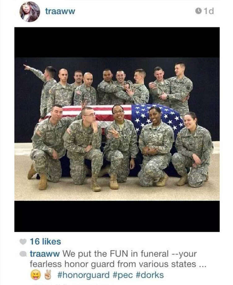 This photo posted to the instagram account belonging to Spc. Terry Harrison shows a dozen soldiers clowning around a casket draped in a flag†at a National Guard training facility in Arkansas. The New York National Guard confirmed on Thursday that four of its members were being investigated in connection with the case. The Wisconsin National Guard on Tuesday, Feb. 18, 2014 announced that it had suspended Harrison from honor guard duties after she apparently posted the photo. (AP Photo) ORG XMIT: NY132 ORG XMIT: MER2014021818290551 / AP