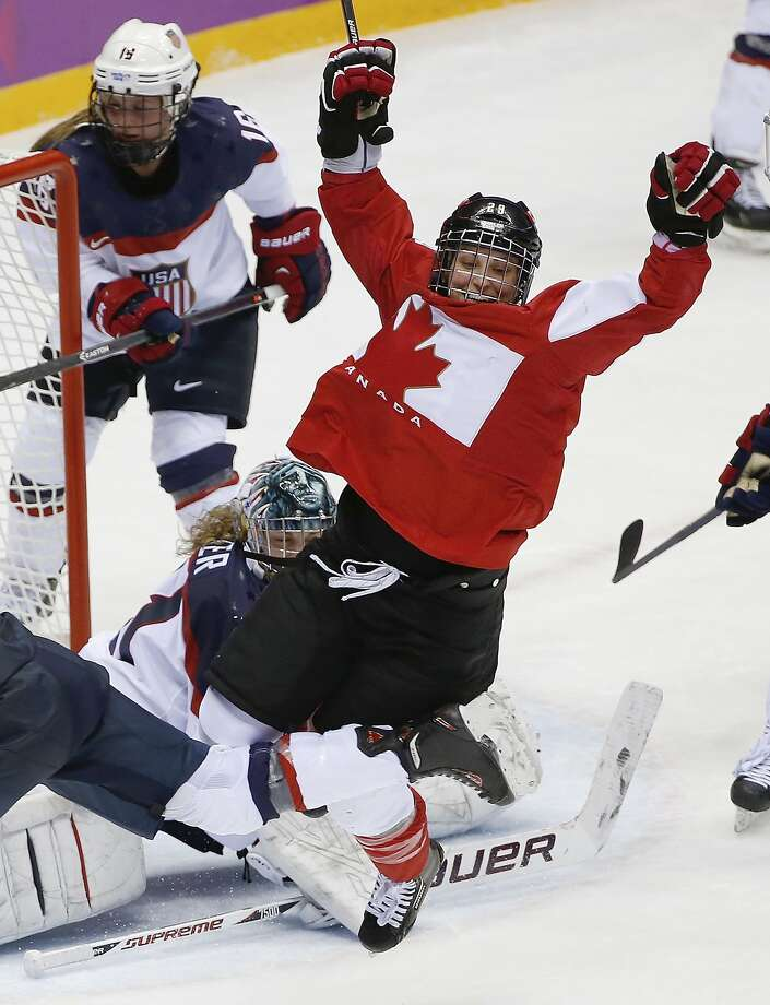 Marie-Philip Poulin of Canada (29) celebrates her goal against the United States in the third period of the women's gold medal ice hockey game at the 2014 Winter Olympics, Thursday, Feb. 20, 2014, in Sochi, Russia. (AP Photo/Petr David Josek) Photo: Petr David Josek, Associated Press