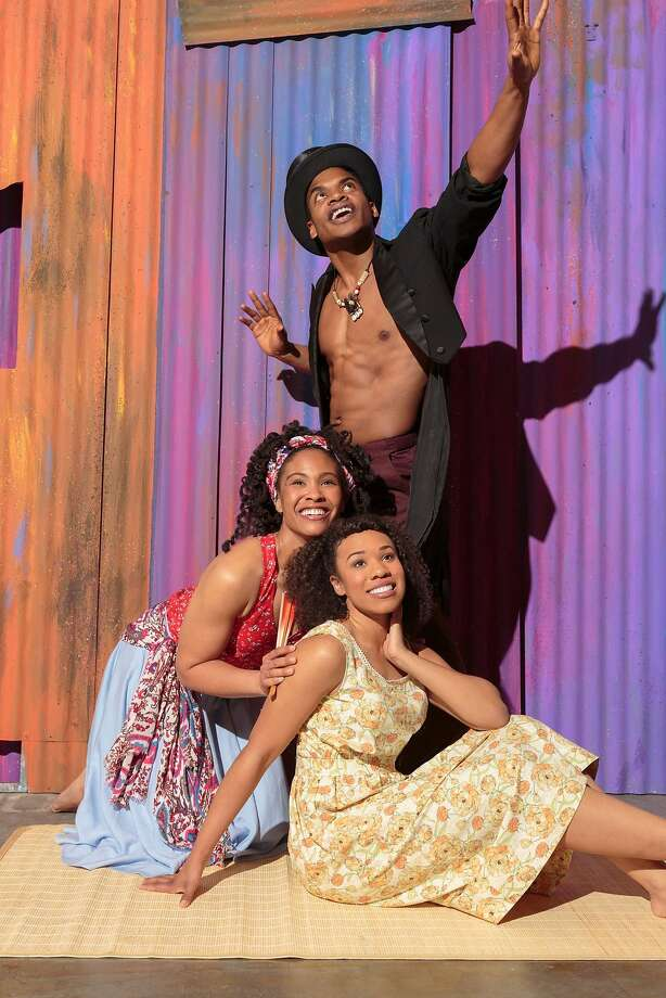 "Adrienne Muller (left), Max Kumangai and Salisha Thomas star in ""Once on This Island."" Photo: Tracy Martin"