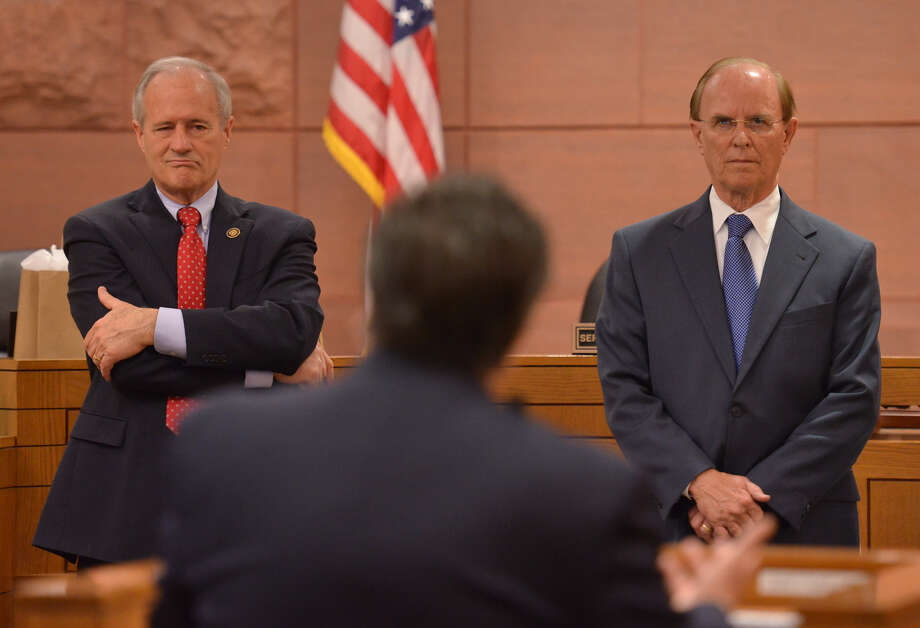 Bexar County Commissioner Tommy Adkisson (left) and County Judge Nelson Wolff are locked in a tough campaign battle. Adkisson misrepresented the facts in his latest mailer. Photo: Robin Jerstad / For The Express-News