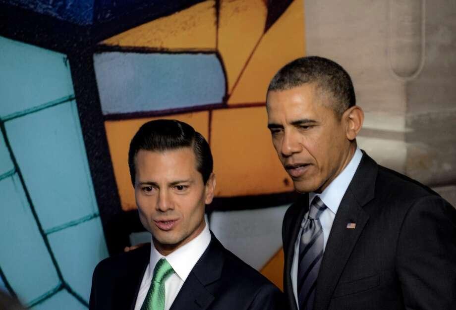 Tras arribar a Toluca, Barack Obama se reúne con el Presidente Peña Nieto en el Palacio del Edomex, previo a Cumbre de Líderes de América del Norte. Photo: YURI CORTEZ, AFP/Getty Images