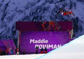 Feb 20, 2014; Krasnaya Polyana, RUSSIA; Maddie Bowman (USA) competes in the first run of the ladies' freestyle skiing halfpipe qualification during the Sochi 2014 Olympic Winter Games at Rosa Khutor Extreme Park. Mandatory Credit: Guy Rhodes-USA TODAY Sports