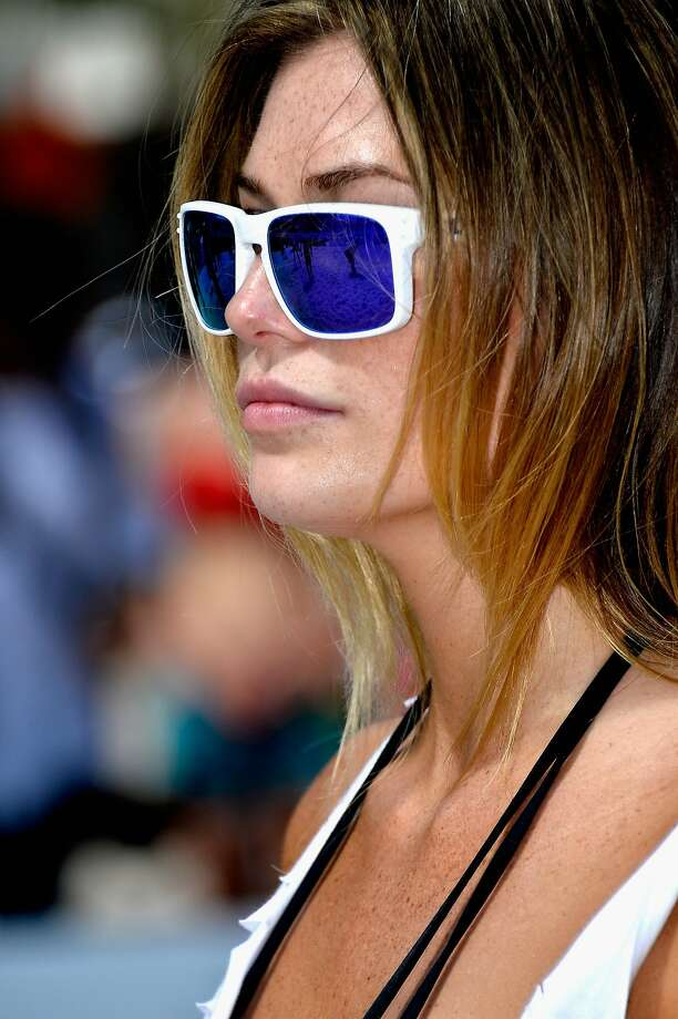 Model Samantha Hoopes attends Sports Illustrated Swimsuit Beach Volleyball Tournament on Ocean Drive at Miami Beach on February 20, 2014 in Miami, Florida.  Photo: Frazer Harrison, (Credit Too Long, See Caption)