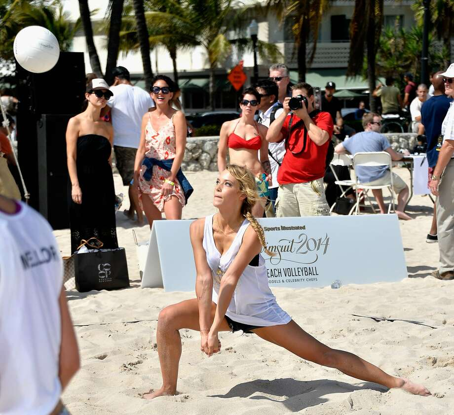 Model Hannah Ferguson attends Sports Illustrated Swimsuit Beach Volleyball Tournament on Ocean Drive at Miami Beach on February 20, 2014 in Miami, Florida. Photo: Frazer Harrison, (Credit Too Long, See Caption)
