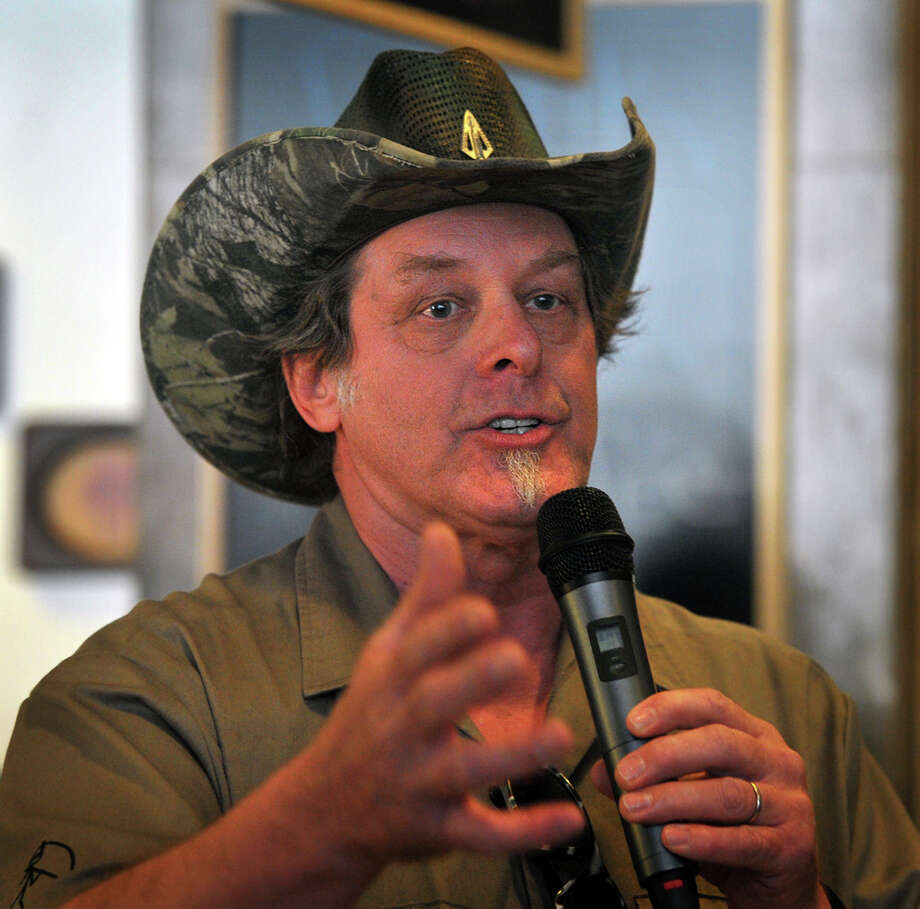 Rocker Ted Nugent speaks to a crowd of Greg Abbott supporters during a campaign stop in Wichita Falls, Texas on Tuesday, Feb. 18, 2014. (AP Photo/Wichita Falls Times Record News, Torin Halsey) Photo: Torin Halsey, Associated Press / Wichita Falls Times Record News
