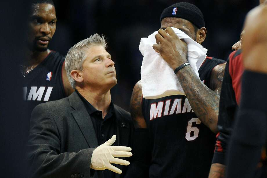 LeBron James left the game with a bloody nose halfway through the fourth quarter of Miami's win at Oklahoma City. James scored 33 points. Photo: Mark D. Smith, Reuters