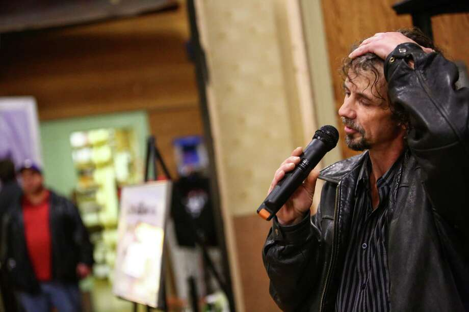 Aaron Burckhard, the original drummer for the band Nirvana, speaks during the first annual Kurt Cobain Day. Photo: JOSHUA TRUJILLO, SEATTLEPI.COM / SEATTLEPI.COM