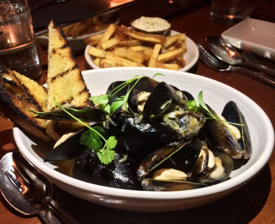 Mussels with absinthe and grilled bread at Maven ($11)