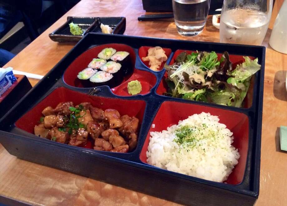 Bento box with teriyaki chicken and California roll at Sushi Ran in Sausalito.