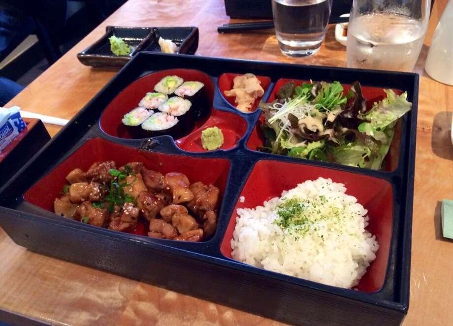 Bento box with teriyaki chicken and California roll at Sushi Ran in Sausalito ($14.50)