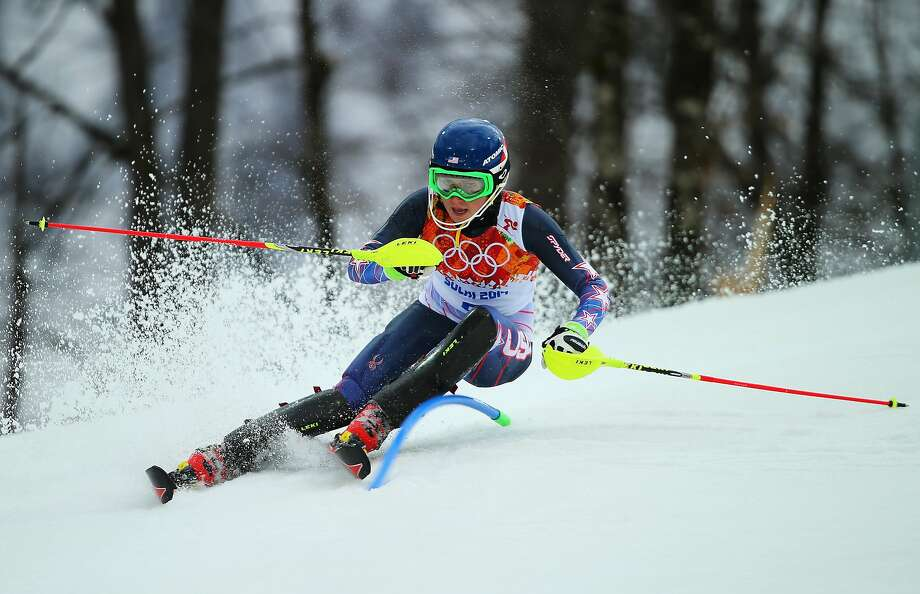 Mikaela Shiffrin of the United States in action during the Women's Slalom during day 14 of the Sochi 2014 Winter Olympics at Rosa Khutor Alpine Center on February 21, 2014 in Sochi, Russia. Photo: Clive Rose, Getty Images