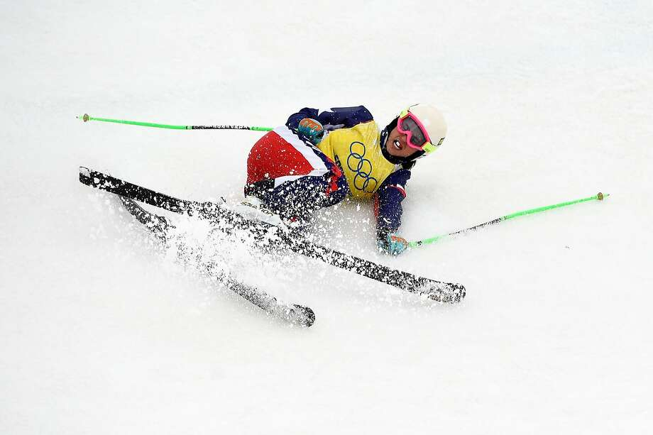 Stephanie Joffroy of Chile crashes out in the Freestyle Skiing Womens' Ski Cross Quarterfinals on day 14 of the 2014 Winter Olympics at Rosa Khutor Extreme Park on February 21, 2014 in Sochi, Russia. Photo: Lars Baron, Getty Images