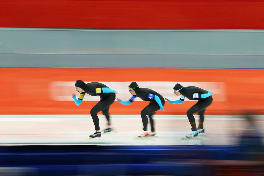 (L to R) Heather Richardson, Jilleanne Rookard and Brittany Bowe of the United States compete during the Women's Team Pursuit Quarterfinals Speed Skating event on day fourteen of the Sochi 2014 Winter Olympics at Adler Arena Skating Center on February 21, 2014 in Sochi, Russia. Photo: Quinn Rooney, Getty Images