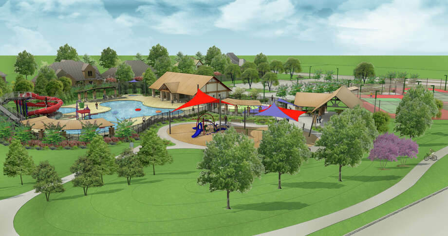 This is an artist's rendering of the newest recreational amenity in Cinco Ranch, the Westridge Creek Recreation Center.