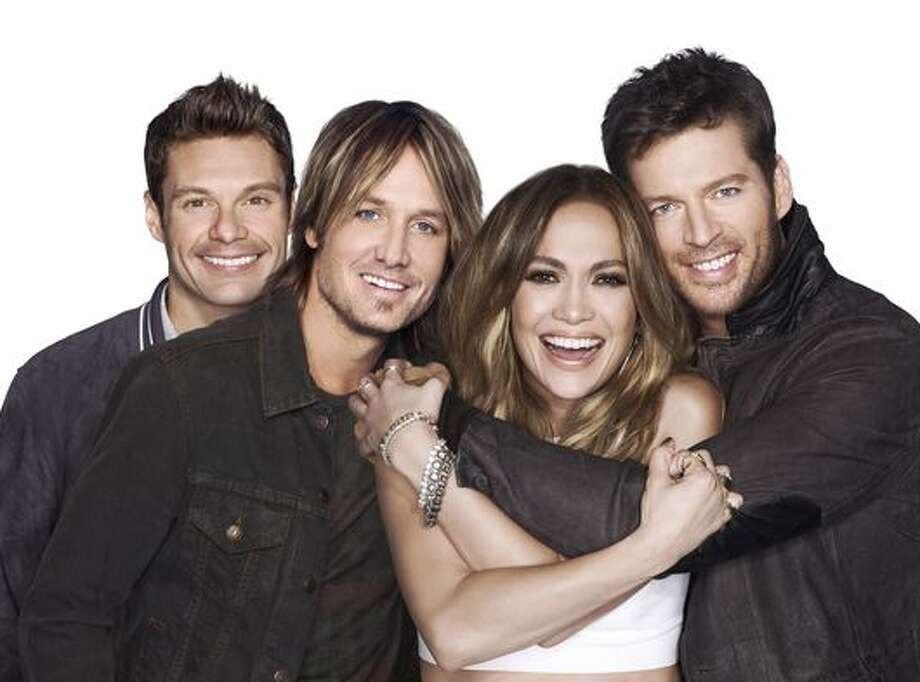 """Ryan Seacrest and new trio of judges...including 'Hatchet Harry"""" Connick, Jr."""