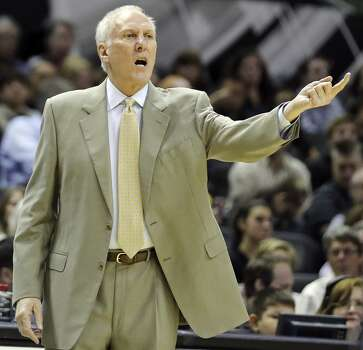 San Antonio Spurs head coach Gregg Popovich yells instructions to the team during first half action against the Sacramento Kings Saturday Feb. 1, 2014 at the AT&T Center. Photo: Edward A. Ornelas, San Antonio Express-News