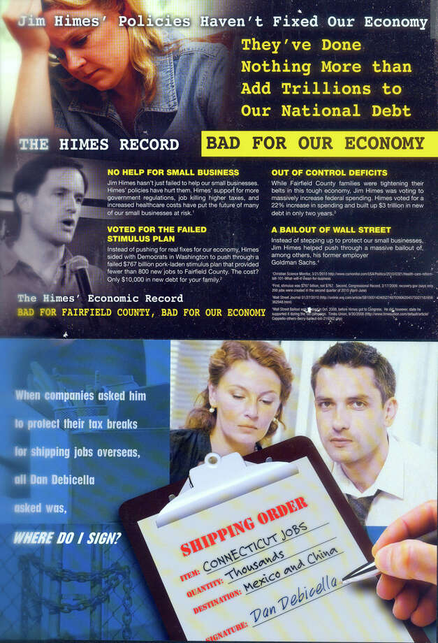 Bulk mail brochures for the Himes and Debicella campaigns. Photo: Contributed Photo, ST / Connecticut Post Contributed