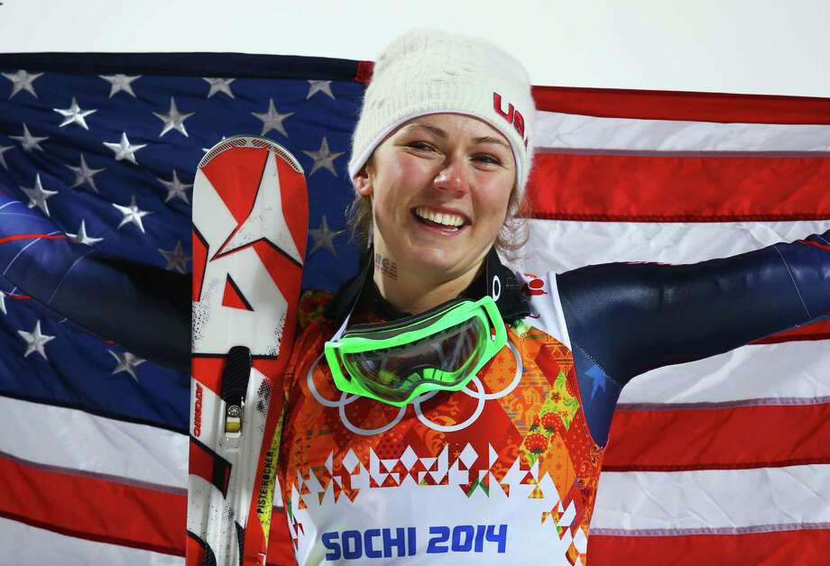 SOCHI, RUSSIA - FEBRUARY 21:  Gold medalist Mikaela Shiffrin of the United States celebrates during the flower ceremony for the Women's Slalom during day 14 of the Sochi 2014 Winter Olympics at Rosa Khutor Alpine Center on February 21, 2014 in Sochi, Russia.  (Photo by Doug Pensinger/Getty Images) ORG XMIT: 461593521 Photo: Doug Pensinger / 2014 Getty Images