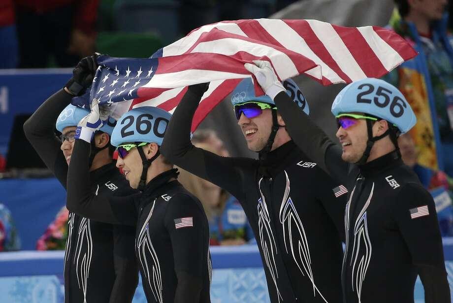 From right, Eduardo Alvarez, Chris Creveling, Jordan Malone and J.R. CelskiMedal: SilverDiscipline: Speed skatingEvent: 5,000 meter relay Photo: Bernat Armangue, Associated Press