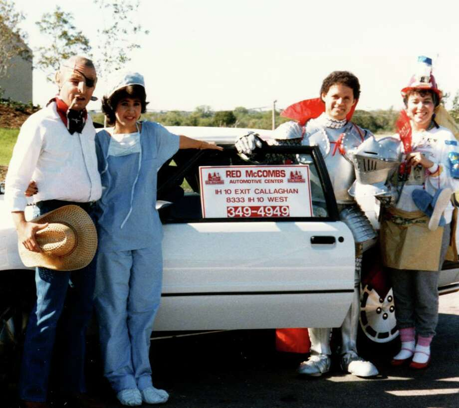 "Lisa-Lisa in the old days with the KTFM gang in front of the studios on Halloween in front of a car they were giving away. Liz Ruiz (far right) is dressed as the ""K-Mart Blue Light Special,"" Lisa (second from left) was a nurse, Sonny Melendrez was a knight in semi-shining armor, and they're still not sure what Albert Flores was. Photo: Courtesy Sonny Melendrez"