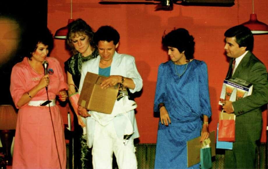 A KTFM celebration from yesteryear:   Pictured are Elizabeth Ruiz, Stephanie Stevens, Sonny Melendrez, Lisa Lisa and Albert Flores. Photo: Courtesy Sonny Melendrez