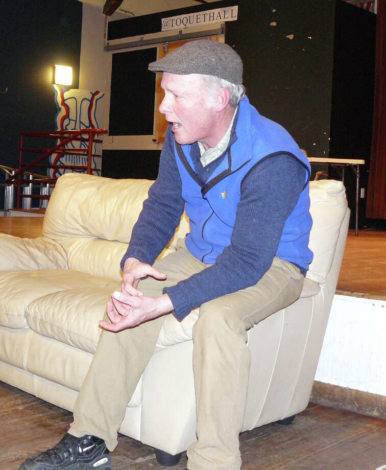 John O'Hern, one of the leaders of the Storytelling Cirle that meets monthly at Westport's Toquet Hall, tells a story about childhood scars at the group's February meeting. Photo: Staff Photo/Gretchen Webster, Staff Photo / Westport News