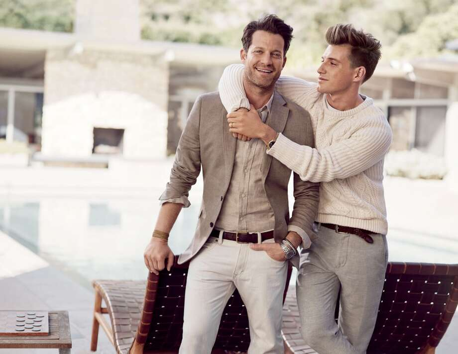 To reflect life's precious moments shared between loved ones, real-life couples and families were cast in the campaign, including New York City-based partners and interior designers Nate Berkus and Jeremiah Brent. Photo: Mikael Jansson, Courtesy Of Banana Republic