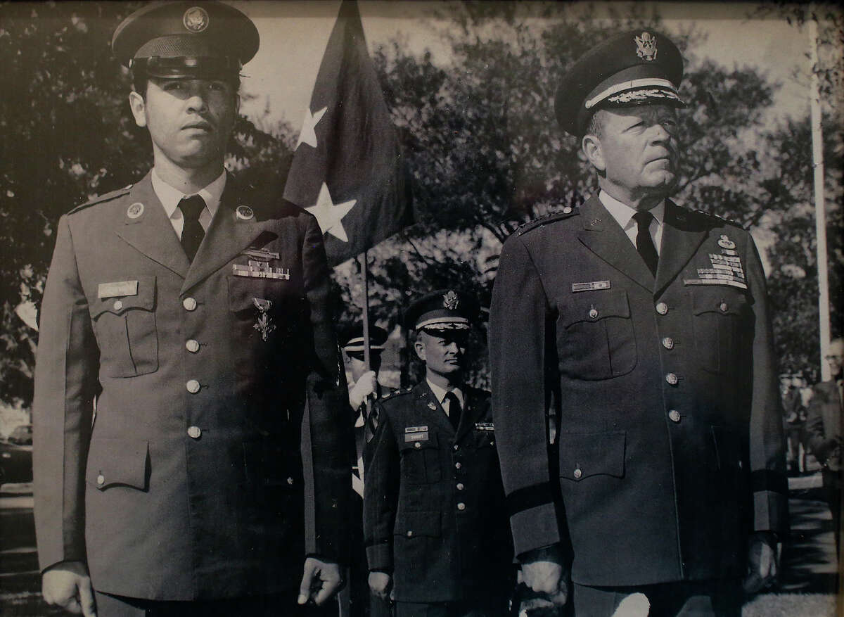 A photograph of Medal of Honor recipient Santiago Erevia during the ceremony for his Distinguished Service Cross, the second highest military decoration, when he returned from Vietnam at Fort Sam Houston.