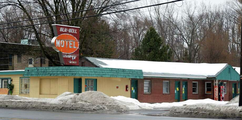 Exterior view of the Blu-Bell Motel Friday afternoon Feb. 20, 2014, in Colonie, N.Y.     (Skip Dickstein / Times Union) Photo: SKIP DICKSTEIN / 00025808A