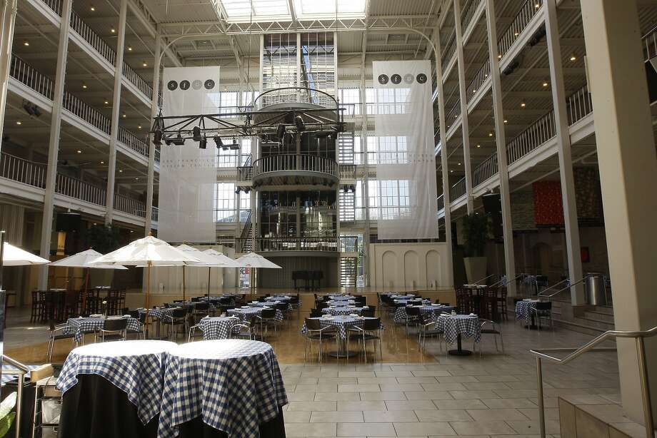 Interior of the Galleria, above, and exterior of the Showplace, below, on Henry Adams Street. They could be among buildings seeking historic designations. Photo: Rohan Smith, The Chronicle