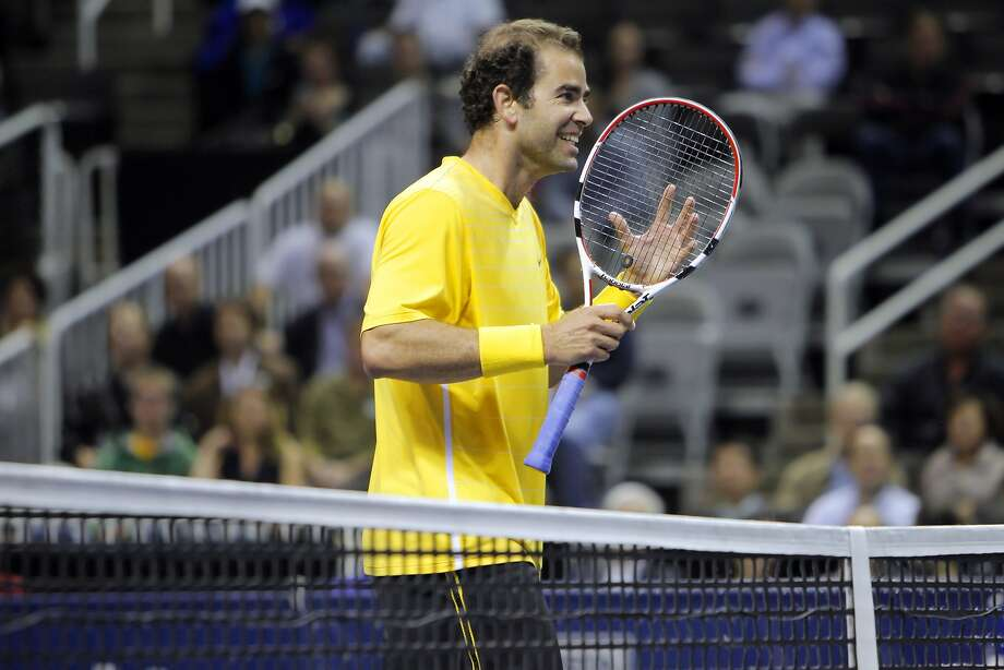 At one time, February meant a chance to see championship players like Pete Sampras in San Jose. In 2011, the retiree played an exhibition against Gael Monfils on the first night of the SAP Open. Photo: Carlos Avila Gonzalez, The Chronicle