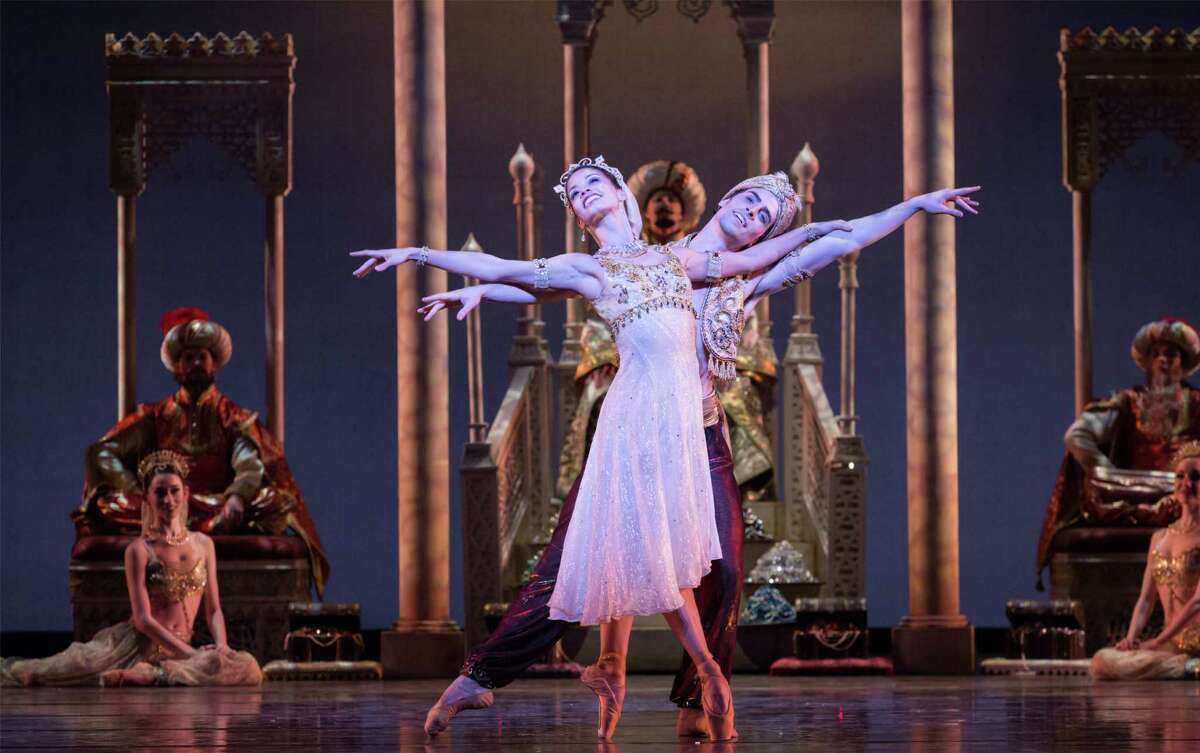 """Karina Gonzalez and Joseph Walsh are Princess Badr al Budar and Aladdin in Houston Ballet's production of """"Aladdin,"""" choreographed by David Bintley. Performances continue through March 2 at Wortham Theater Center."""