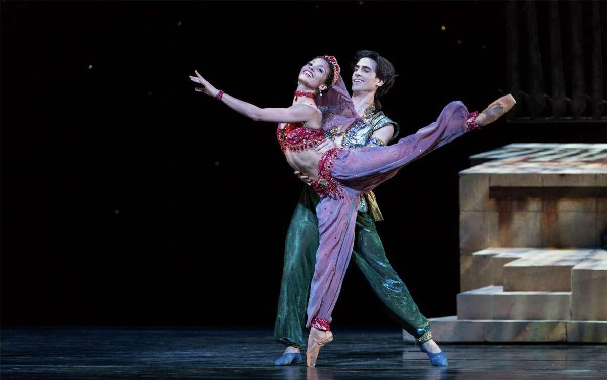"Karina Gonzalez and Joseph Walsh are Princess Badr al Budar and Aladdin in Houston Ballet's production of ""Aladdin."""